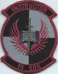 USAF PATCH 19 SPECIAL OPERATIONS SQUADRON INSTRUCTOR ON VELCRO**.