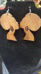 Afro Wood Earring