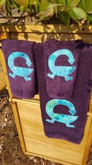 Purple Sankofa Three piece Towel Set
