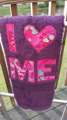 I LOVE ME - Plum hand towel with Pink Tye Dye