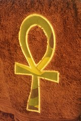 Brown Hand Towel with Camo Ankh