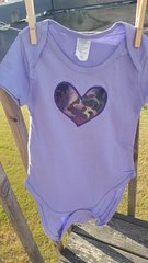 Lavender Baby Onesie with Purple Heart