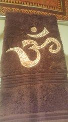 Brown Hand Towel with Beige Batik Om