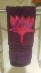 Plum Hand Towel with Purple & Red Lotus