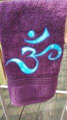 Purple Hand Towel with Sky Blue Om