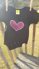 Black Baby Onesie with Purple Heart