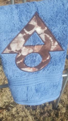 Blue Hand Towel with Brown Batik SEPC