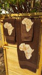 Brown Africa Three piece Towel Set