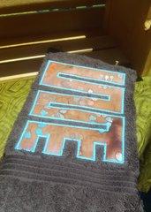 Brown Hand Towel with Rust Batik NkyinkyimiE