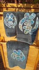 Turquoise Gye Nyame Three piece Towel Set