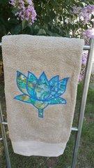Khaki Bath Towel with Multi Blue Lotus