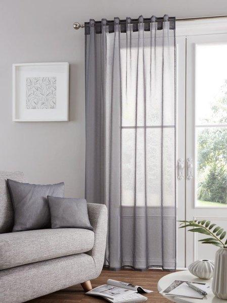 Bali voile grey tab top curtain panel