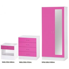 Alpha mirrored pink gloss & white 3 piece bedroom furniture set