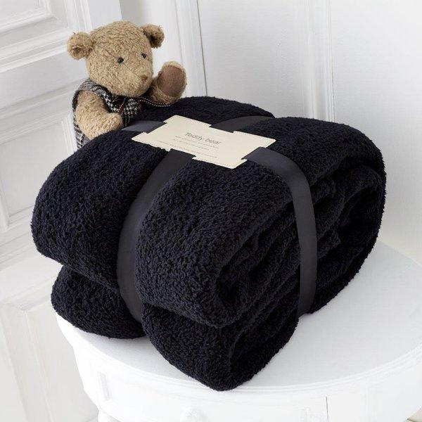 Teddy plain black fleece throw