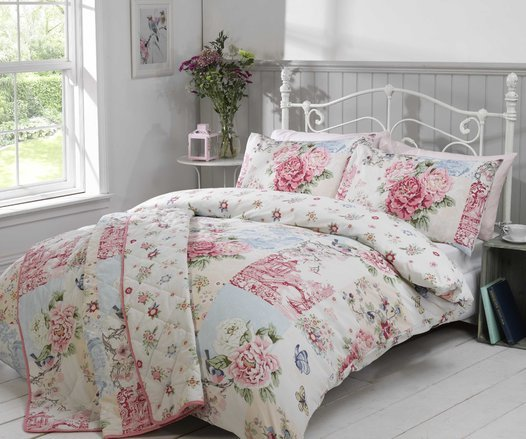 Oriental pink patchwork quilted bedspread