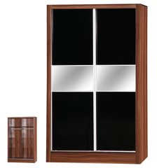 Alpha slider black gloss & walnut 2 door wardrobe
