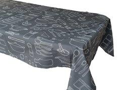 Utensils black & white rectangle table cloth & napkin set