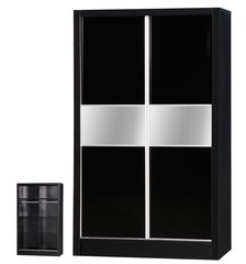 Alpha slider black gloss 2 door wardrobe
