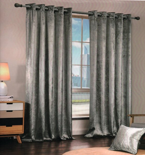 Crushed velvet silver eyelet curtains