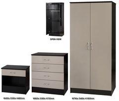 Alpha grey gloss & black 3 piece bedroom furniture set
