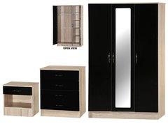Alpha 3 door mirrored black gloss & san oak 3 piece bedroom furniture set
