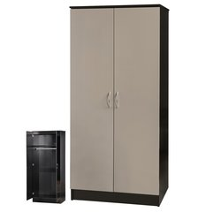 Alpha grey gloss & black 2 door wardrobe