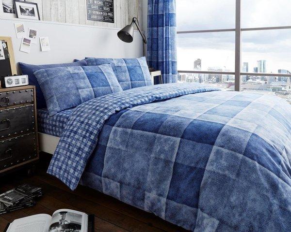 Denim Check blue duvet cover
