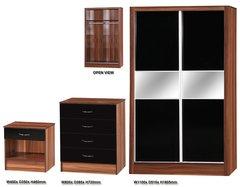 Alpha slider black gloss & walnut 3 piece bedroom furniture set