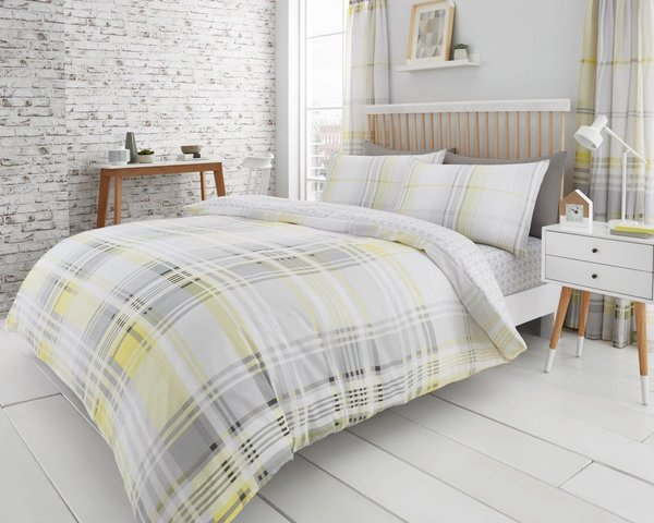 Jackson Check grey & yellow duvet cover