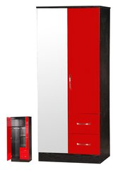 Marina mirrored red gloss & ash black 2 door combi wardrobe