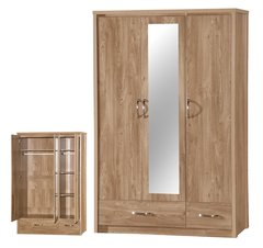 Holland oak effect mirrored 3 door wardrobe