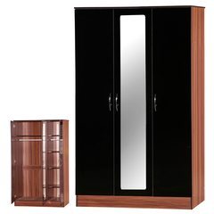 Alpha mirrored black & walnut gloss 3 door wardrobe