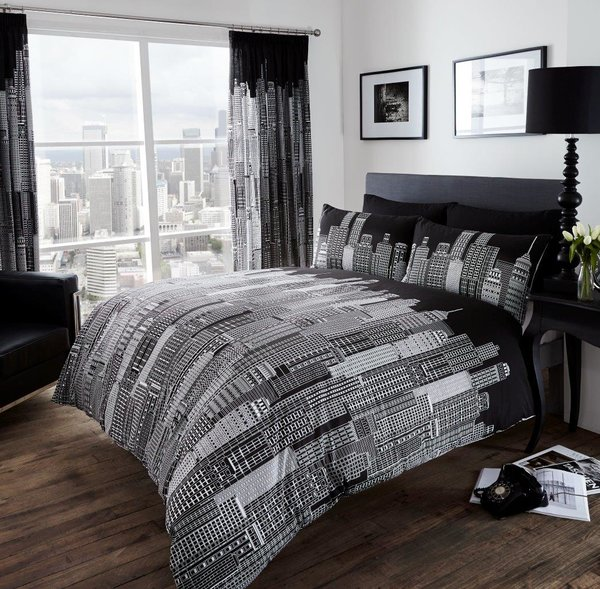Skyline black/white duvet cover