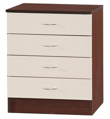 Alpha cream gloss & walnut chest of 4 drawers