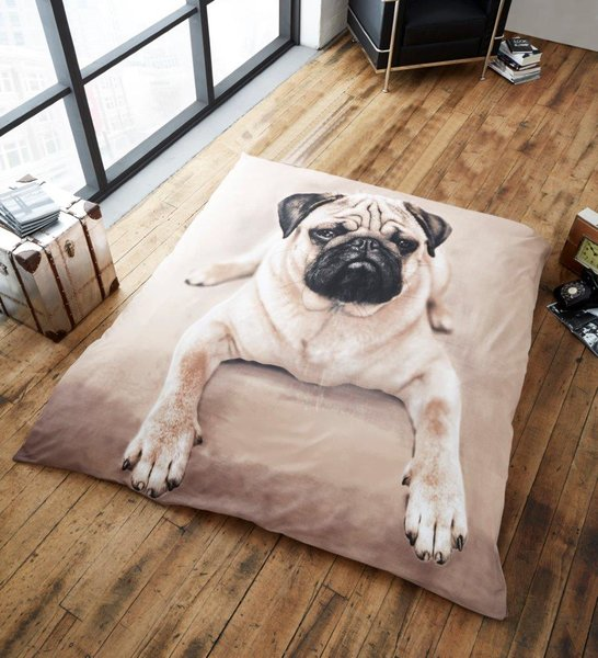 Pug mink faux fur throw / blanket