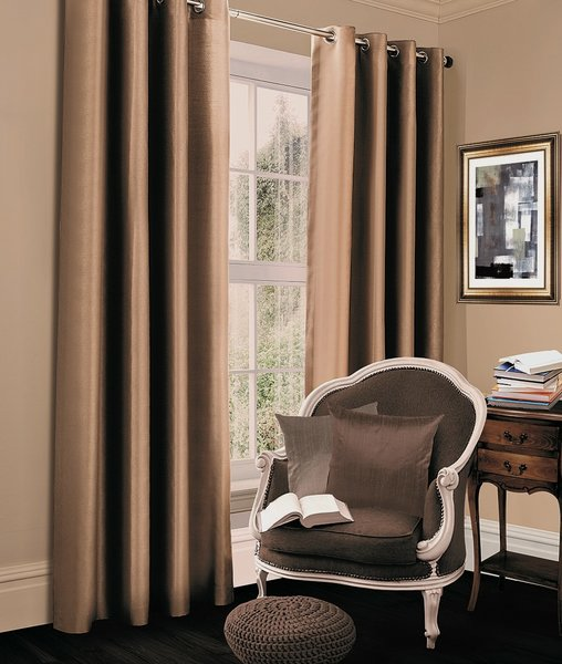 Thermal blackout latte eyelet curtains