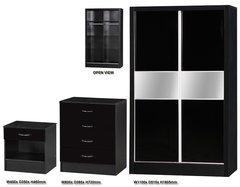 Alpha slider black gloss 3 piece bedroom furniture set