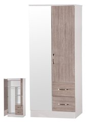 Marina mirrored grey oak & ash white 2 door combi wardrobe