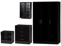 Alpha 3 door black gloss 3 piece bedroom furniture set