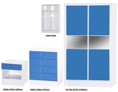 Alpha slider blue gloss & white 3 piece bedroom furniture set