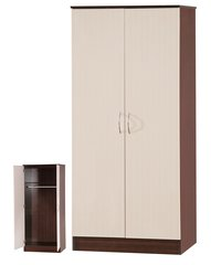 Alpha cream gloss & walnut 2 door wardrobe