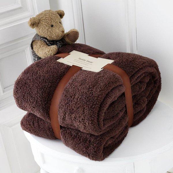 Teddy plain chocolate fleece throw