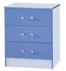 Marina blue gloss chest of 3 drawers