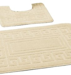 Cream Greek style 2 piece bath mat set
