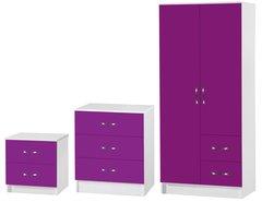 Marina purple gloss & ash white 3 piece bedroom furniture set