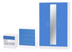 Alpha 3 door mirrored blue gloss & white 3 piece bedroom furniture set