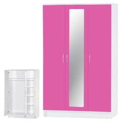 Alpha mirrored pink gloss & white 3 door wardrobe