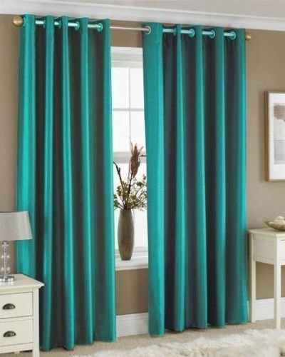 Faux silk teal eyelet curtains