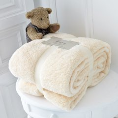 Teddy plain cream fleece throw