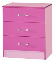 Marina pink gloss chest of 3 drawers